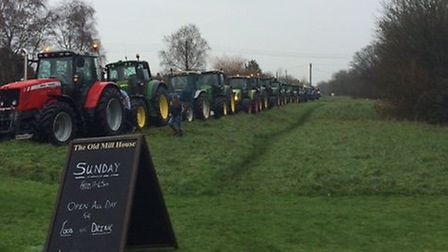 line up of tractors from the tractor run at Saxtead Millhouse.