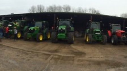 A line-up of tractors from the tractor run at Debach.