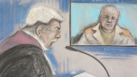 Court artist sketch of Ronald King appearing by video link at Chelmsford Crown Court from HMP Chelms