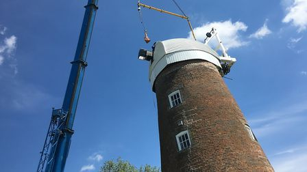 The cap back in place on top of Billingford Mill, near Diss, earlier this summer as part of restorat