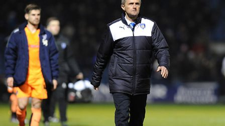 Frustrated U's boss Kevin Keen leaves the pitch at Priestfield after his team's 1-0 defeat to Gillin