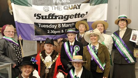 Ladies from the Ephemera Archive dressed as suffragettes to meet Sudbury Mayor Jack Owen to publicis