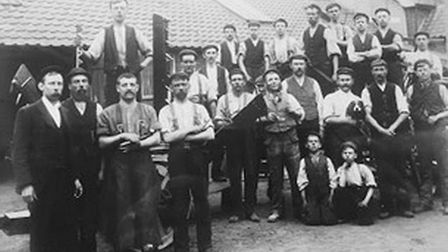 Foundrymen at E Youngs, the Diss manufacturers who produced the Champion Iron Plough, better known a