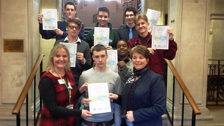 Members of the Green Team receive certificates at Braintree Town Hall