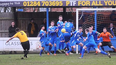 Bury Town FC v Cray Wanderers Bury defend a close range free kick after a pass-back to keeper.