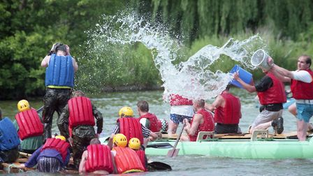 Antics on Diss Mere during the raft race, 1 July 1995. Picture: Archant Library