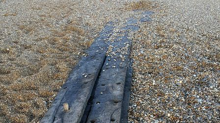 Remnants of what is thought to be an 18th century ship found by Mark Hopkins on Thorpeness beach