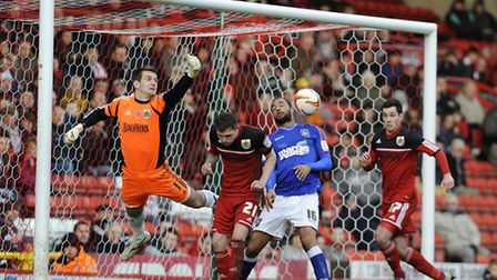 David McGoldrick is guilty of a push on the keeper from this corner at Ashton Gate