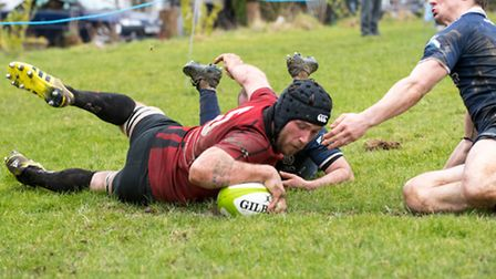 Colchester captain Liam Pickett scores their only try in a narrow defeat at East Grinstead