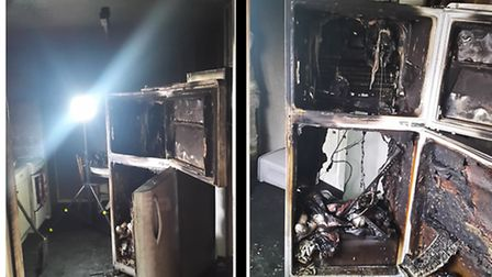 Two images showing a burnt-out kitchen caused by a fridge-freezer fire in a Frinton flat. Pictures: