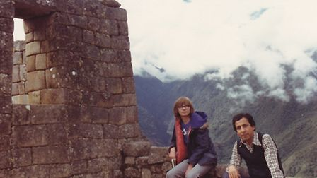 Thomas Salas (right) and his wife's son Jonathan in 1976 on there visit to the Inca Trail in Machu P