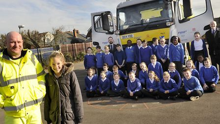 """Lexden Primary School got a visit from the gritter pupil Keira Crisp named """"Big G,"""" along with drive"""