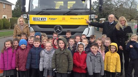 Staff and pupils from Silver End Primary School with county councillor Ray Gooding and Alexander the