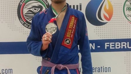 Colchester's Taylor Pearman with his silver medal from the British National Pro Jiu Jitsu Championsh