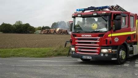 Fire crews from across South Norfolk tackled a large barn on fire at Bressingham. Picture: Simon Par
