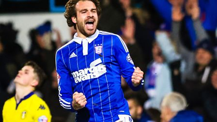Brett Pitman celebrates Towns victory at the final whistle of the Ipswich Town V Leeds United (Champ