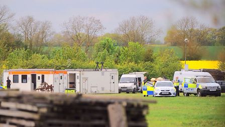 The large scale police operation in Potash Road, Wyverstone.