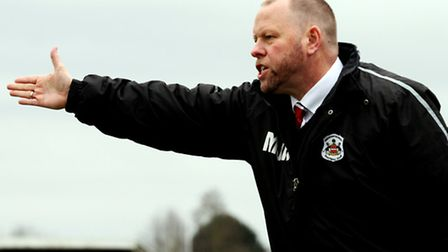 Needham manager Mark Morsley issues instructions to his side