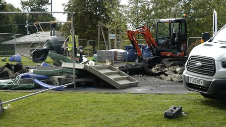 Work gets underway on the £100,000 refurbishment of the playground at Diss Park. Picture: Simon Park