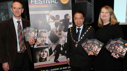 The launch of the Bury Festival at the Apex in Bury. Nick Wells (left), Mayor Patrick Chung and Cllr