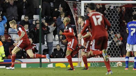 Jon Stead is ecstatic after scoring Bristol City's winner against his old club at Ashton Gate