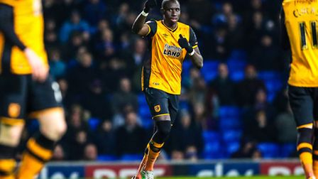 Mohamed Diame celebrates his goal for Hull during the Ipswich Town v Hull City (Championship) match