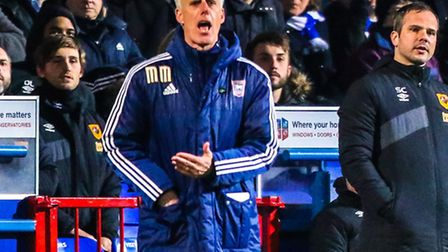 Town manager Mick McCarthy yells instructions from the touchline during the Ipswich Town v Hull City