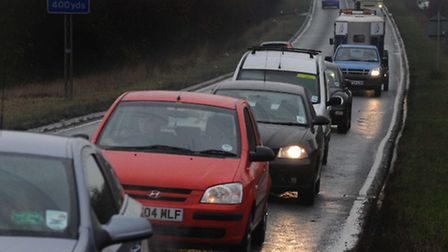 Queueing traffic leaving Braintree on the A120, which could be avoided if Gateway 120 development l