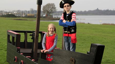 Connor, nine, and Martha, seven, from Colchester, test out the new Tudor galleon pirate ship from Ip
