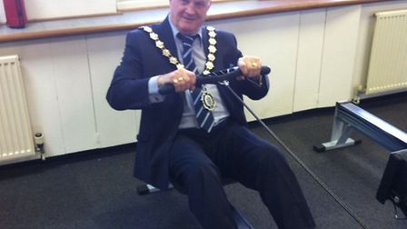 Councillor Bill Rose using the rowing machine at DS Fitness Experience.