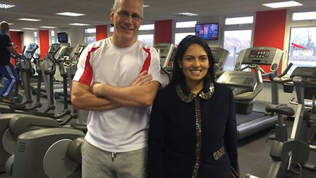 MP Priti Patel with David Stead from DS Fitness Experience.