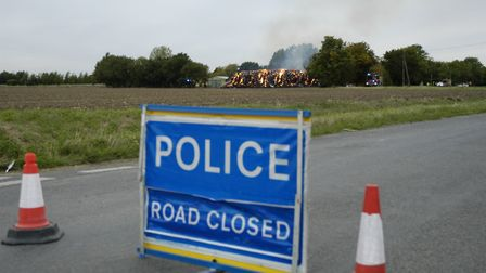 Fire crews from across South Nofolk tackled a large barn fire at Bressingham. Picture: Simon Parkin