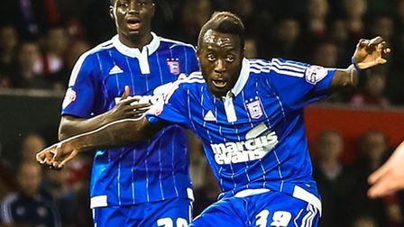 Larsen Toure crosses the ball during the Manchester United v Ipswich Town (Capital One Cup) match at