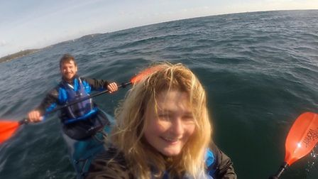 Lucy Shepherd and Tom Midddleton on a kayak training weekend