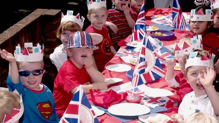Christchurch Pre School in Colchester celebrate the Golden Jubilee with dressing up in red, white an