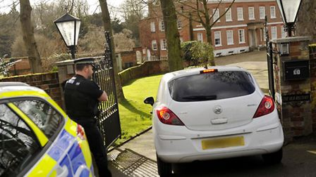 Police at the scene of a shooting at the Old Rectory house in Sible Hedingham.