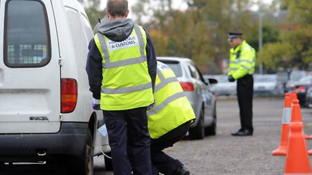 The multi-agency vehicle checks at Portman Road in Ipswich in October