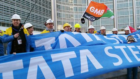 Protesters in Brussels who are calling for urgent action to help the crisis-hit steel industry.