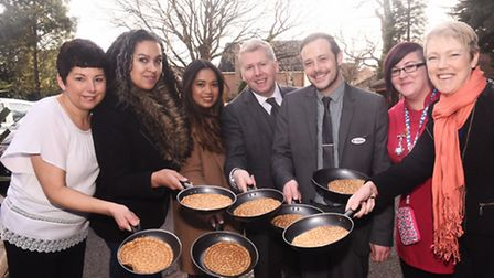 Bucklesham Grange care home, Ipswich celebrate shrove Tuesday with a pancake race and pancake tossin