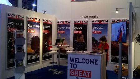 The Visit East Anglia stand at the Vakantiebeurs tourism exhibition in Utrecht.