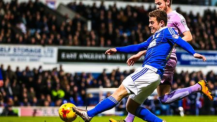 Ryan Fraser fires in a shot during the first half of the Ipswich Town v Reading.Picture: Steve Wa