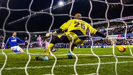 Brett Pitman scores the winner for Town in the Ipswich Town v Reading (Championship) football match