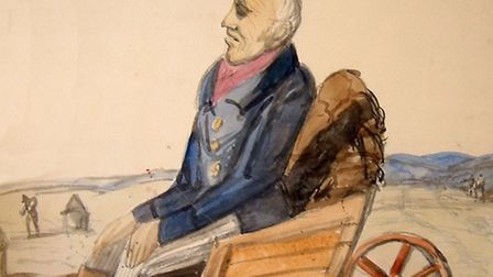 Rev Richard Cobbold painting of Soldier Smith, who died in a wheel-barrow. A pedlar's dog raised the