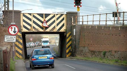 The rail bridge and crossing gates on the A137 at Manningtree. Picture: Jerry Turner