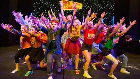 Woodbridge School's production of Back to the 80s at the Seckford Theatre. Photo by Mike Kwasniak.
