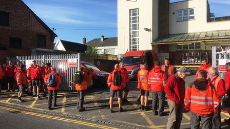 Postal workers outside the sorting office in Diss following a walk out. Picture: Simon Parkin