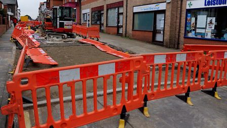 Roadworks in Leiston High Street to replace the speed bumps.