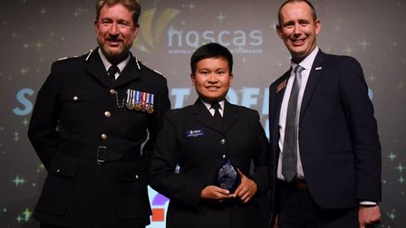 The winner of the Student Officer of the Year, Hathaichanok (Som) Sampao, with Chief Constable Simon