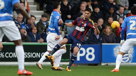 Kevin Bru was booked for this first half challenge at QPR