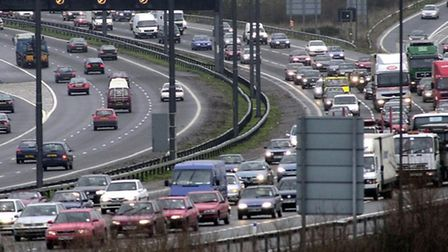 A library photo of the M25, which has been hit by severe delays today by a car transporter fire